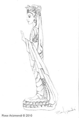 kwan Yin lamp sketch #1